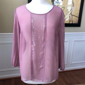 Talbots Sheer Mauve Pink Blouse Sequins
